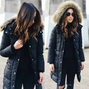 Parka black fur hood bubble winter jacket